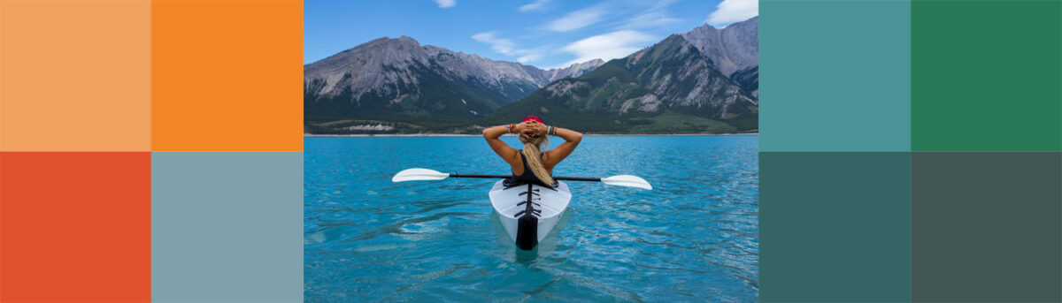 Canoeist and eight colored squares. Photo: Kalen Emsley